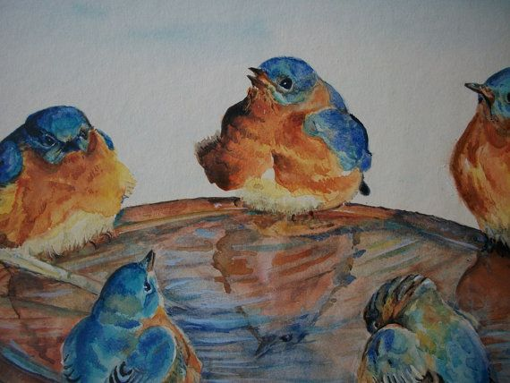 Uccelli  acquerello su carta liscia  300 gsm di Stellangelo