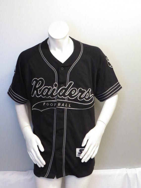 c54656460 Los Angeles Raiders Baseball Jersey by Starter - Script Front - Men's Large  #baseballjerseys