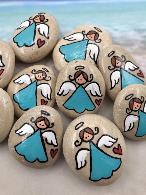 Pocket Pebble Angels, Bag of 10 Girl Pocket Angel Minis, Pocket Tokens, Pocket Pebbles, First Communion Gift, Sunday School, Hospital Tokens