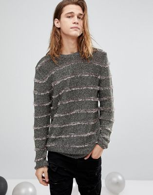 ASOS | ASOS Metallic Jumper With Fluffy Stripes In Gold
