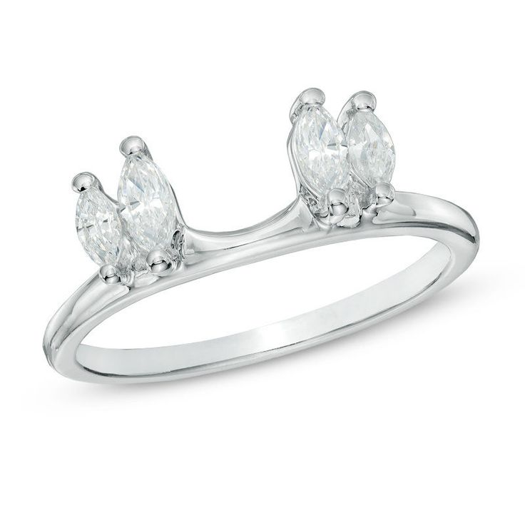1/2 CT Marquise Natural Diamond Solitaire Enhancer Ring Guard in 10K White Gold #gemdepot #WithDiamond #BlackFridayDeals