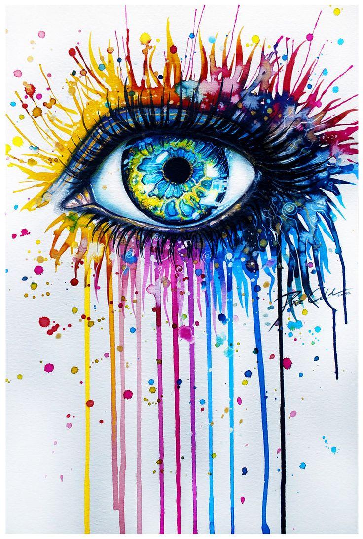 Inside Glow by =PixieCold (German Artist Svenja Jödicke - does beautiful watercolor eyes - has prints too) deviantART & Etsy