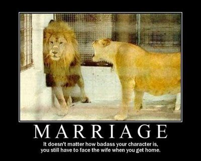 Even the mighty lion has to face the wife.