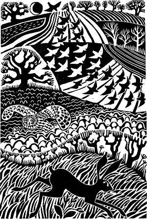 'Flight ', Linocut by  Carry Akroyd, painter and printmaker.