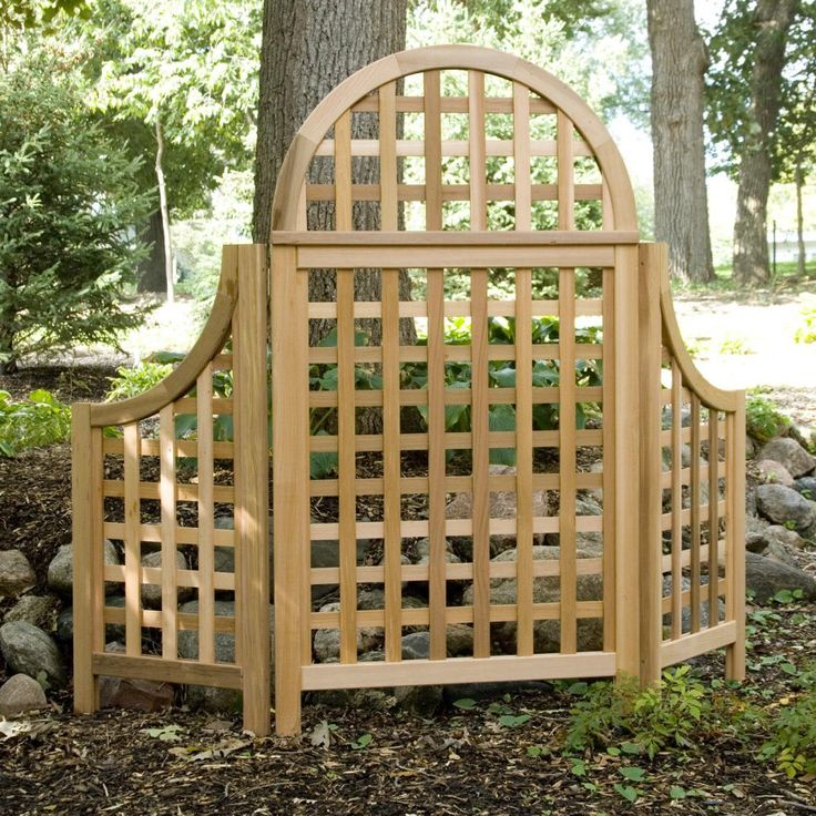 Andover 5-ft. Cedar Wood Arch Trellis - The Andover Trellis can be used as a beautiful traditional garden trellis or as a free standing privacy screen. The lattice style panel offers privacy...