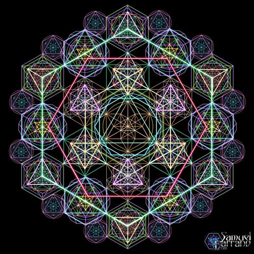 Hyper GeometrybySamuel FarrandUsing the 5 Platonic Solids, the Vector Equillibrium and Sacred Geometry as a foundation, I created several multi-layered geometrical systems to explore a much more diverse interconnected grid complex then what traditional sacred geometry exhibits.