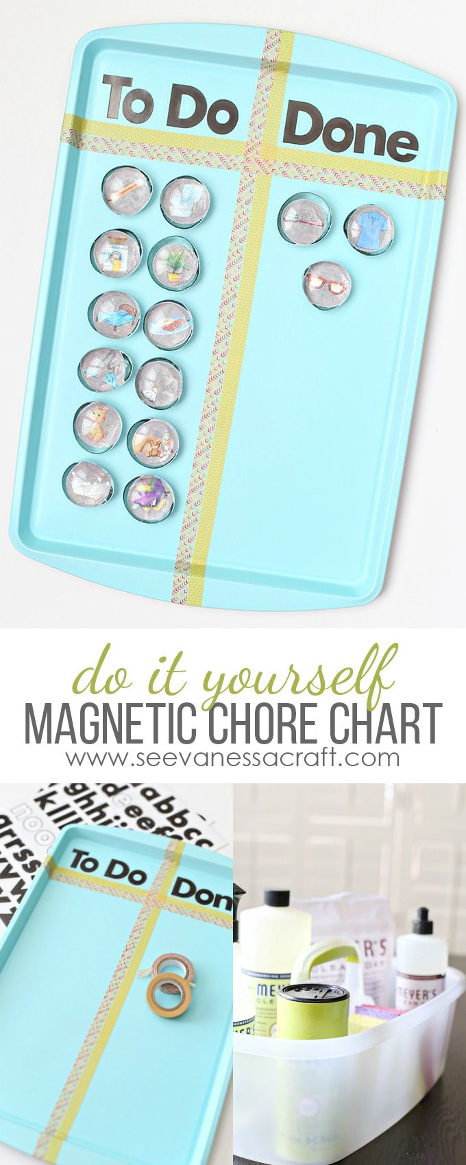 This MAGNETIC CHORE CHART with free printables has been a back to school life saver! #FallIntoClean #ad