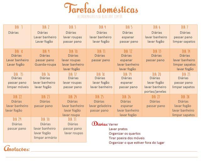 cronograma com as tarefas domésticas - Pesquisa Google
