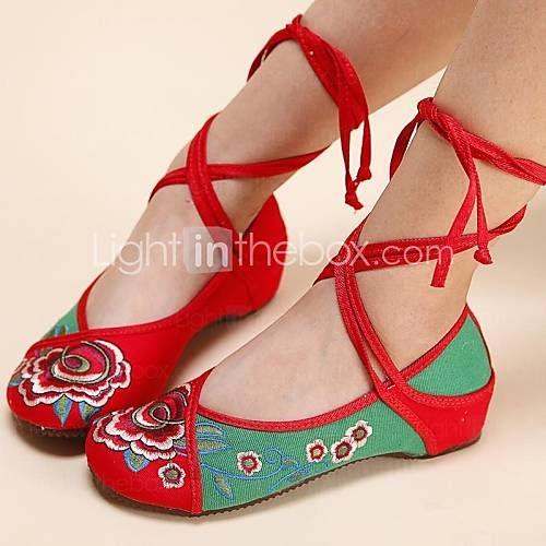 zapatos de las mujeres de edad pekin correa del tobillo de lona planos del talón con zapatos de la flor - EUR € 17.18