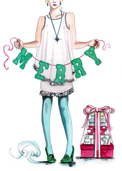Merry Christmas Fashion Illustration Ll