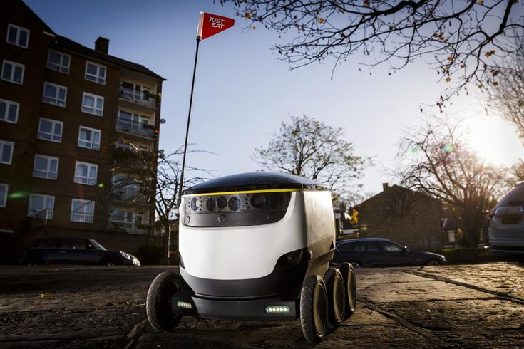 Just Eat has carried out what it says is the world's first delivery of an online food order, by robot. After months of testing in Greenwich the machine will now be used regularly in the area, and expanded across London in 2017. The customer is sent a code by text to open the cargo hold of the robot, to ensure deliveries aren't stolen.