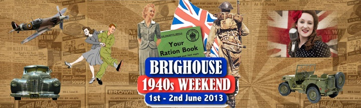 1st - 2nd June 2013: The Brighouse 1940's Weekend in West #Yorkshire will see the town centre transformed into a wartime town! There will be vintage displays (from the British Army, Royal Navy & RAF), live music, a vintage market, a Fairground with traditional children's rides, miniature steam train rides & donkey rides. The Civic Hall will also be converted into a cinema & on Saturday evening there will be a 1940′s dance at the Ritz Ballroom.
