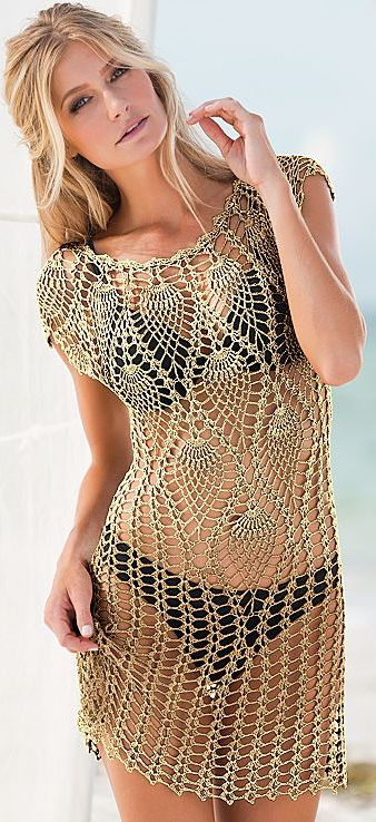 Crochet dress--shortened just a bit, would make a beautiful top. I'm thinking some added beads could make this a real evening stunner.