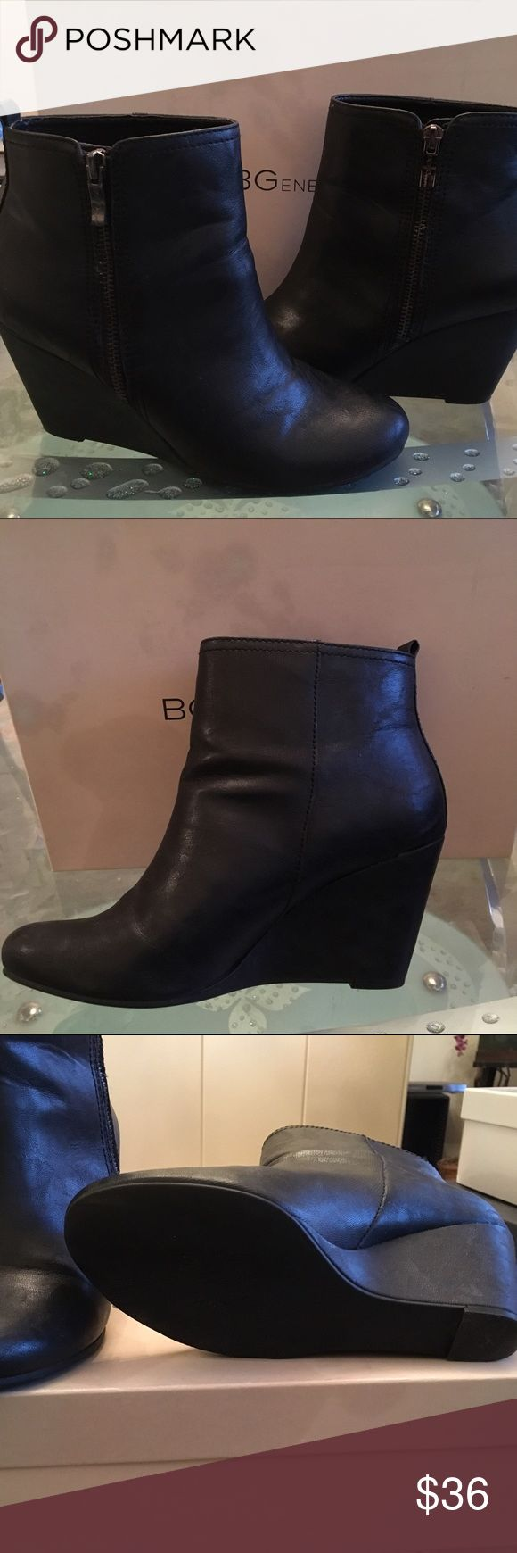 BCBG Wedge Booties BCBG Wedge Bootie .. Good condition, worn only a few times. BCBGeneration Shoes Ankle Boots & Booties