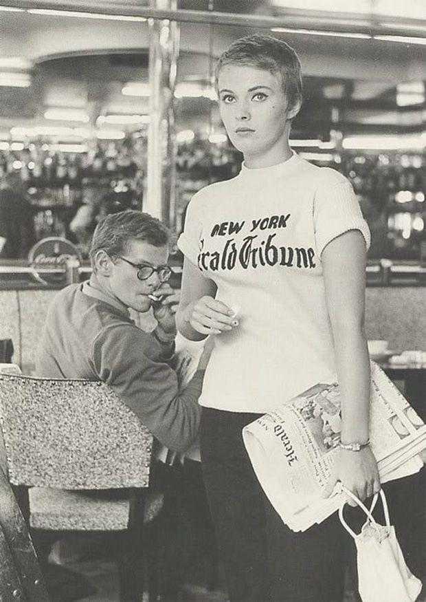 jean seberg and gentleman smoking a cigarette