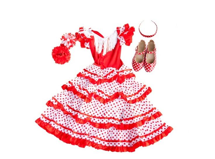 Spaanse Jurk Pakket Señorita Rood/Wit + GRATIS Haarband + GRATIS bloem