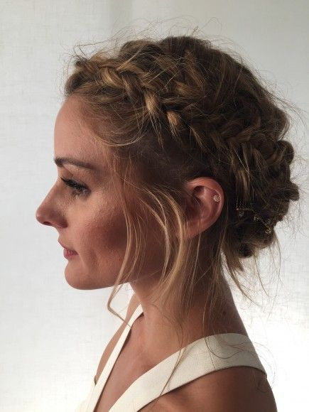 Messy crown braid.