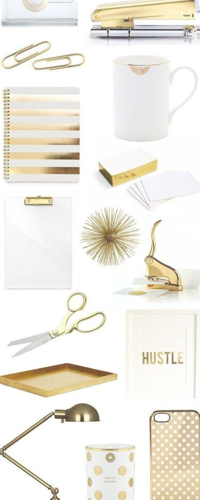 Home Accessory Pinterest Gold Notebook Lamp Candle Desk Office Supplies Home Furniture Stationar Gold Office Accessories Gold Office Home Office Decor