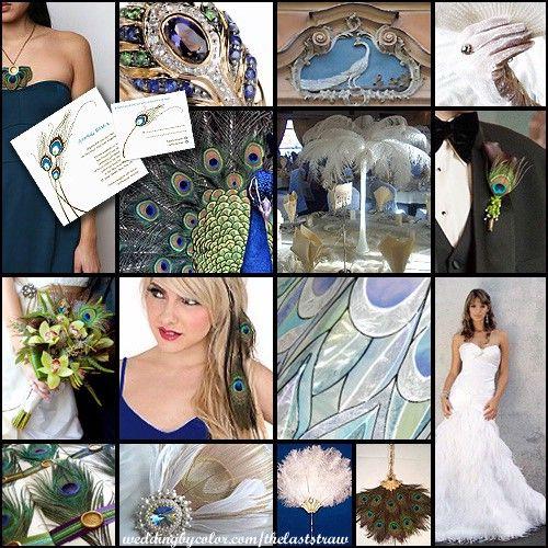 Elegant Peacock wedding ideas and utilizing white peacock feathers.