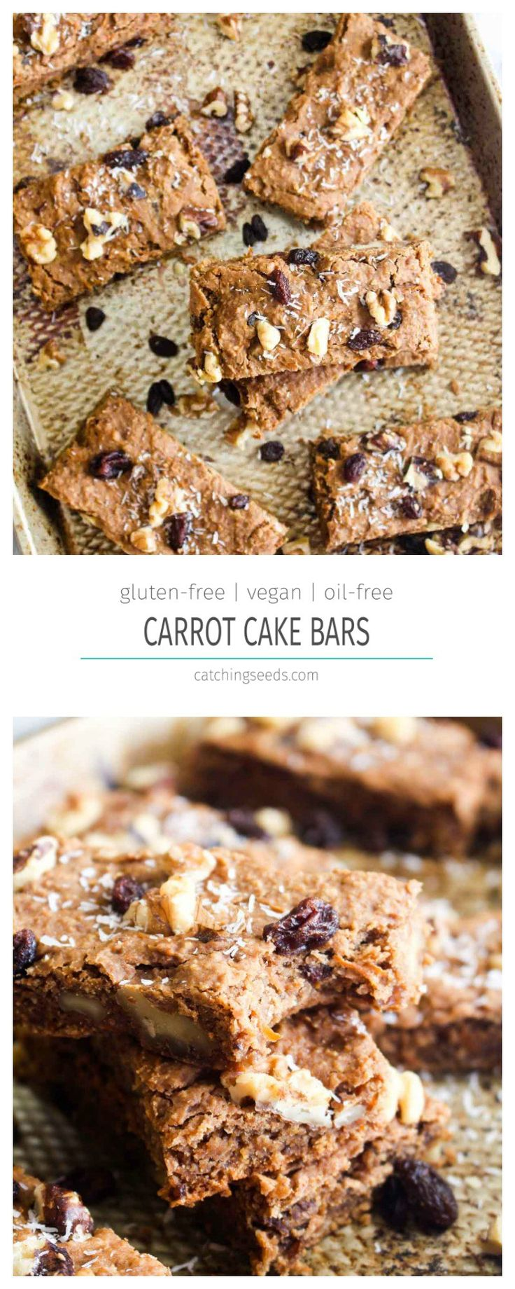 These Healthy Carrot Cake Bars are a secretly healthy treat recipe! Full of carrot cake flavors, but made without refined sugar, flour, or oil! | CatchingSeeds.com