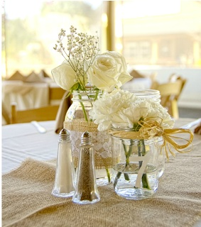 Bohemian trend wedding style: super inexpensive and yet lush.  Collect containers, use burlap, lace and your favorite flowers , floating candles or?.......Green Villa Barn & Gardens.......: Burlap & Lace
