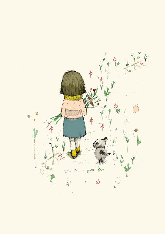 Children's wall Art, Nursery wall art, Girl with dog walking, Art Poster, Wall Art, Illustration, Wall Decor