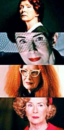 Frances Conroy as Moira (Murder House), Shacmech The Death Angel (Asylum), Fiona Snow (Coven) and Gloria Mott (Freak Show)