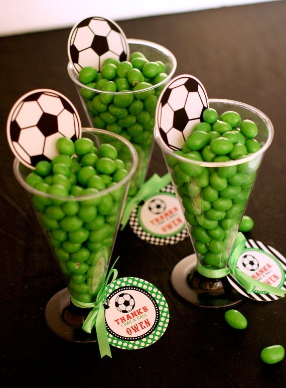 Football World Cup party favour thank you loot bags filled with green jelly beans