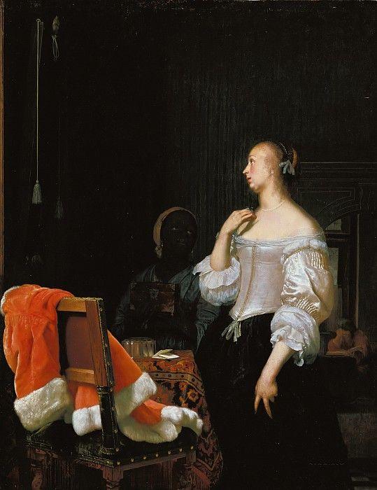 Мирис, Франс I ван (1635-1681) - Молодая женщина у зеркала.