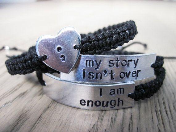 I am Enough Semicolon Bracelet My Story Isn't Over by AuraHemp