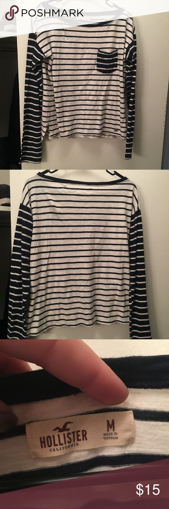 Hollister Nautical Tee Super cute Hollister Long sleeve nautical tee. Blue and white striped. Only worn once. Hollister Tops Tees - Long Sleeve