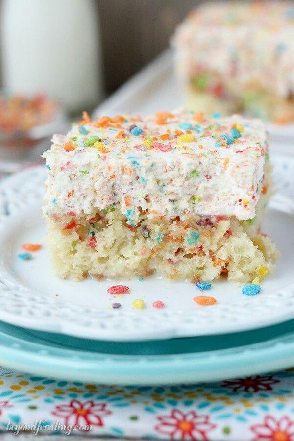 Fruity Pebble Cereal Milk Poke Cake