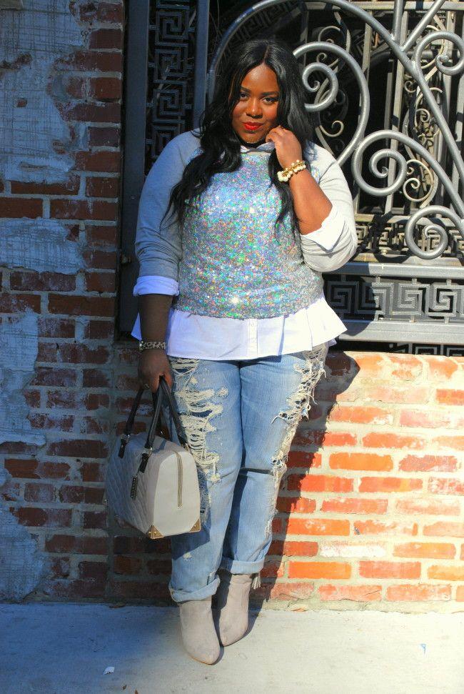 Sequined Sweatshirt, Embellished Sweatshirt, Deb Shops, Musings of a Curvy Lady, Plus Size Fashion, Fashion Blogger, Distressed Boyfriend Jeans, Fashion Blog, Women's Fashion, OOTD