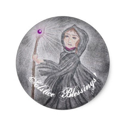 Winter Solstice Snow Maker Witch Pagan Classic Round Sticker - winter gifts style special unique gift ideas