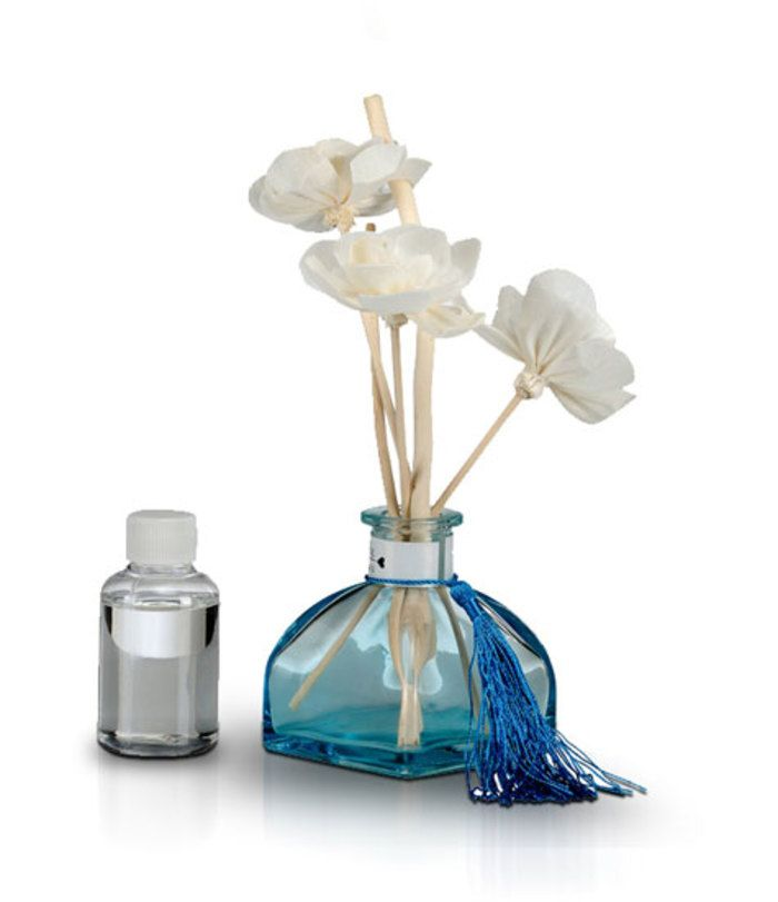 Torquise Blue Glass Bottle Room Freshener