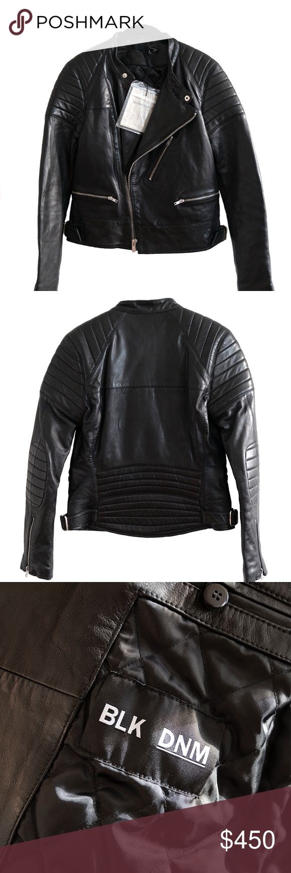 """BLK DNM Women Leather Jacket 22 Black Denim Racing Inspired Biker Jacket. Padding details at shoulders, elbows, and back panel. Buckles at side waist. Two zip pockets at waist and one at chest. Tailored viscose""""interior"""" with pockets. Silver hardware.   Brand new with tags and extra buttons. Size M. Black Denim Jackets & Coats"""