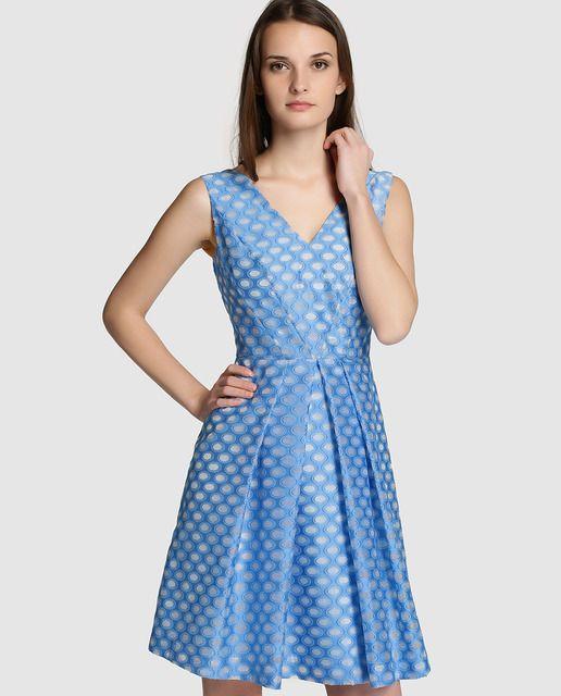 Vestido de mujer Roberto Verino en azul con estampado