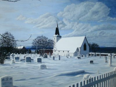 """Anglican Church, Topsail 1860"" by Bill Richardson"