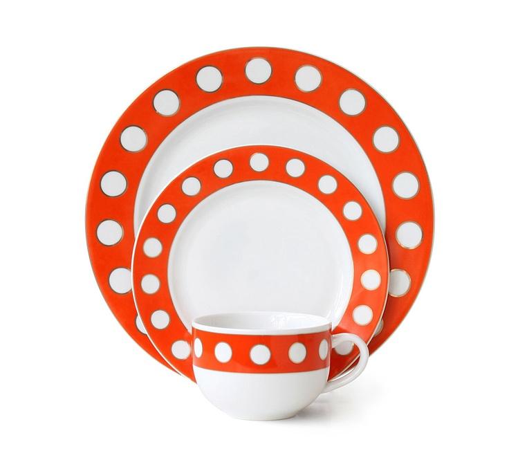 orange dish set...Love the polka dots!