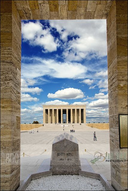This is the  Mausoleum of Mustafa Kemal Atatürk. A mausoleum is basically the grave of someone important. Indeed Mustafa was a really important army officer. This is situated in Ankara, a really important city in turkey.