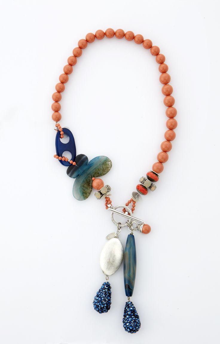 Necklace with Swarovski elements, murano glass