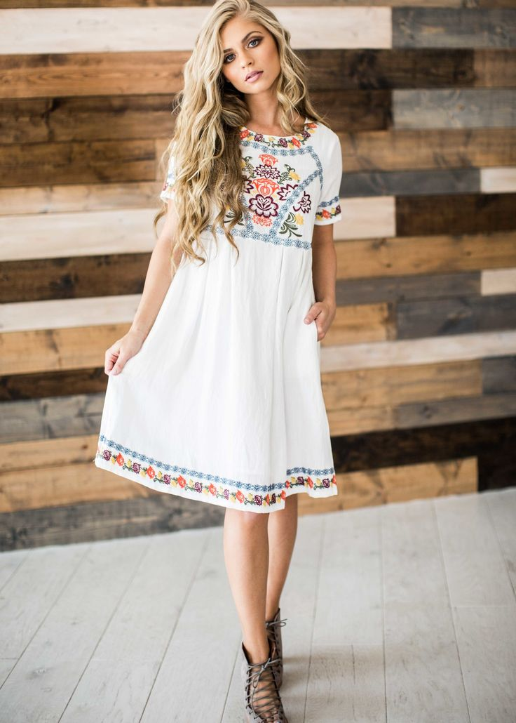embroidered, embroidered dress, blonde hair, mothers day, sunday dress, style, fashion, spring, spring dress