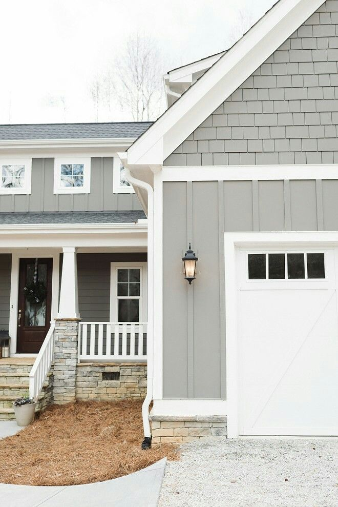 What If I Did The Bathhouse Like This Garage With Part Of The Board Running Verticall House Paint Exterior Modern Farmhouse Exterior Farmhouse Exterior Colors