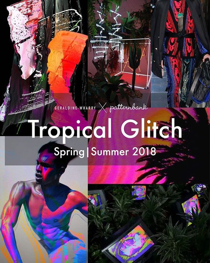 'Tropical Glitch' Trend for Spring/Summer 2018 – Guest Editor Geraldine Wharry – New on blog.patternbank.com – Patternbank are excited to collaborate with trends consultant Geraldine Wharry. In this inspirational guest editor post, we look forward to Spring/Summer 2018. – In an imaginary world inspired by Augmented Reality, designers and artists celebrate nature's wonders in a sensual and exotically dark direction. – Innovation comes through mixing natural elements such as palm trees…