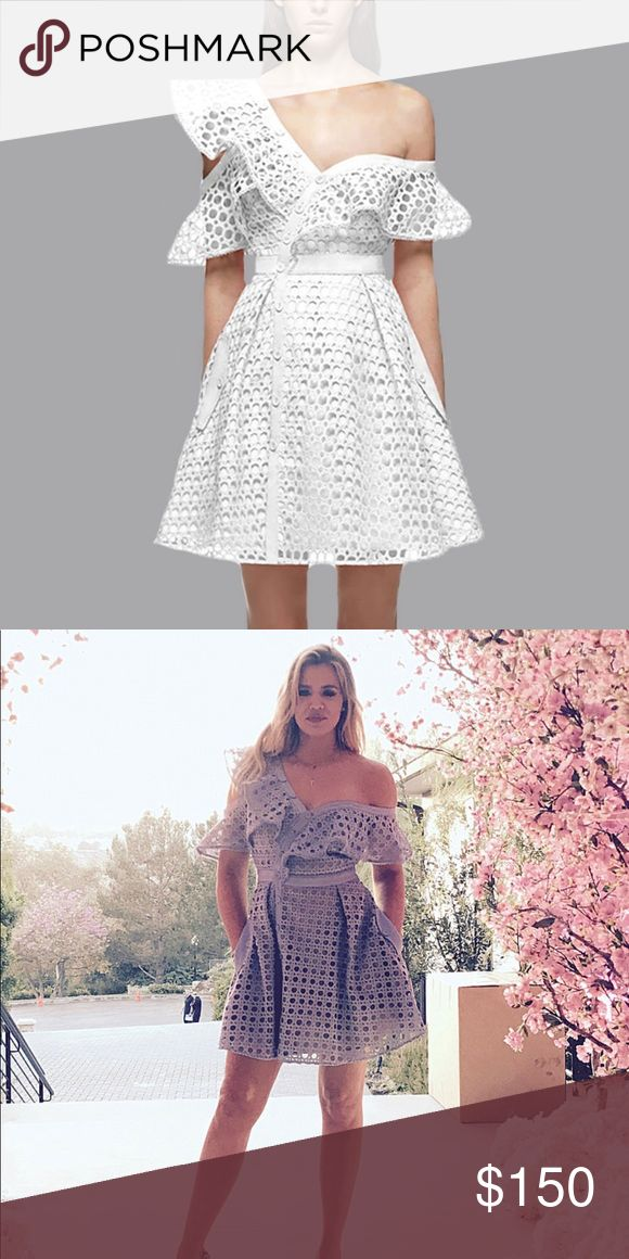 Self portrait style dress Beautiful dress inspire in the self portrait style! And in white! It is a true S! Brand new, with tags! So disappointed it did not fit!  Khloe kardashian wore it in baby blue! 🦋 open to reasonable offers because I paid a high price!  I don't know the exact measurements! please ask for real pictures if interested but it is exactly like the first picture! Self-Portrait Dresses One Shoulder