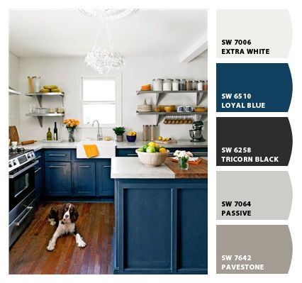 Paint colors from Chip It! by Sherwin-Williams. Kitchen with dark blue cabinets