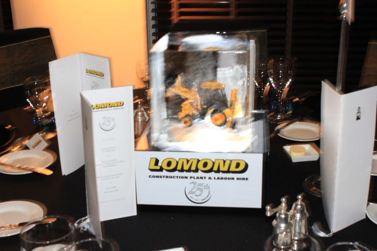 Lomond event. Corporate. Branding LED digger table centres.