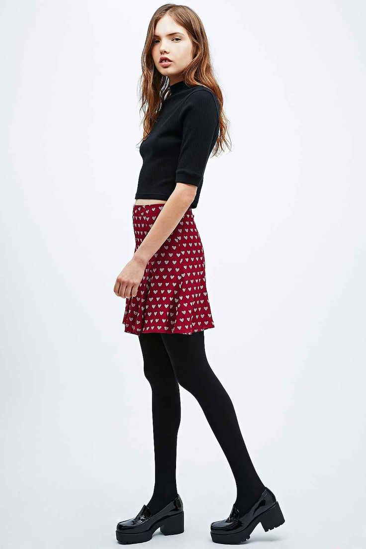 Cooperative Heart Fit-and-Flare Skirt in Plum