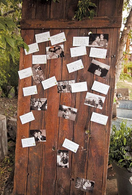 Photos of the couple were pinned to an antique door; guests were asked to write marital advice on note cards that were then attached to the door: Wedding Ideas, Wedding Rustic, Rustic Summer Weddings, Note Cards, Guestbook, Marriage Advice, Bride, Antique Doors, Rustic Wedding