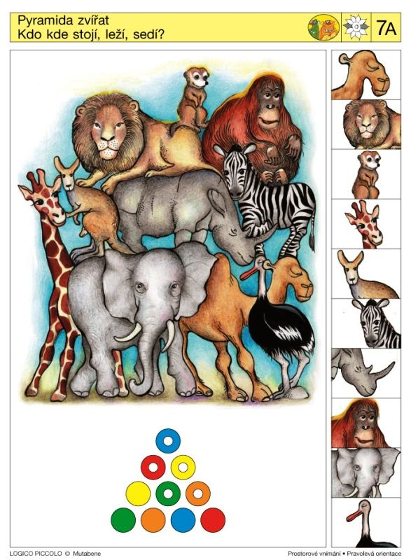 Soubor Logico Piccolo - Prostorové vnímání Pravolevá orientace Vhodné pro děti od 5 - 8 let Soubor obsahuje 16 různých karet * Motýli, čtyřlístky, jabloně, znaky avlajky, jablka aptáci –